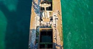 Vue aérienne de bourdon de vieux bateau de Ghost de naufrage Image stock