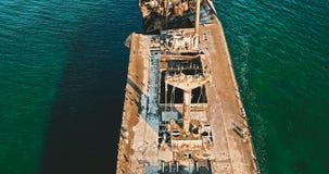 Vue aérienne de bourdon de vieux bateau de Ghost de naufrage Photographie stock