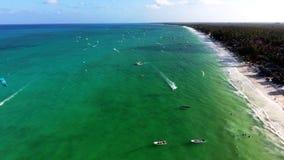 Vue aérienne de côte de Zanzibar au-dessus de l'océan Photo stock