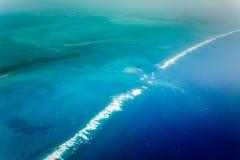 Vue aérienne de côte orientale de Belize photographie stock