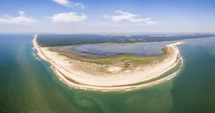 Vue aérienne de cap et de plage de Coubre image libre de droits