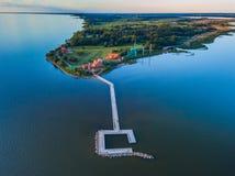 Vue aérienne de cap de Vente en Lithuanie, endroit de sonnerie d'oiseau photo stock