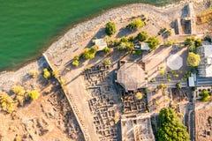 Vue aérienne de Capernaum, Galilée, Israël photographie stock libre de droits