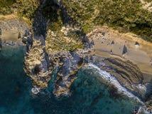 Vue aérienne de capo Vaticano, Calabre, Italie Ricadi Côte des dieux Plages Promontoire de la côte calabraise photo libre de droits