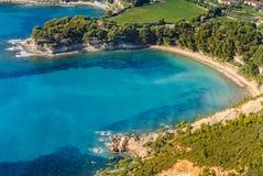 Vue aérienne de cassis du chemin côtier photo stock