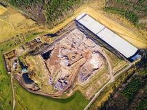 Vue aérienne de centre d'enfouissement des déchets municipal photographie stock libre de droits