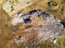 Vue aérienne de centre d'enfouissement des déchets municipal image libre de droits