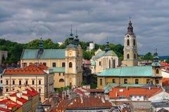 Vue aérienne de centre de ville de Przemysl, Pologne Photo stock