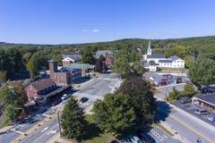 Vue aérienne de centre de ville d'Ashland, mA, Etats-Unis photographie stock libre de droits