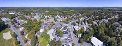Vue aérienne de centre de ville d'Ashland, mA, Etats-Unis photographie stock