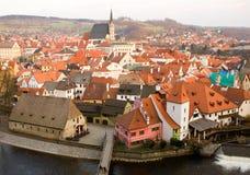 Vue aérienne de Cesky Krumlov dans la République Tchèque Photo libre de droits