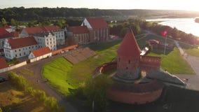 Vue aérienne de château de Kaunas banque de vidéos