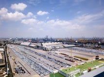 Vue aérienne de chantier de construction navale de concept de logistique image libre de droits