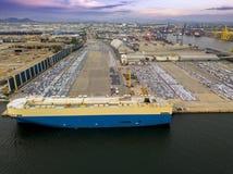 Vue aérienne de chantier de construction navale de concept de logistique image stock