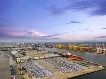 Vue aérienne de chantier de construction navale de concept de logistique photos libres de droits