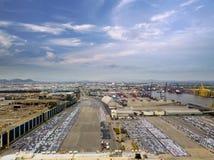Vue aérienne de chantier de construction navale de concept de logistique photo stock