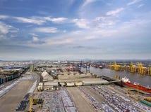 Vue aérienne de chantier de construction navale de concept de logistique photographie stock