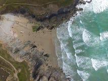 Vue aérienne de chapelle Porth photographie stock