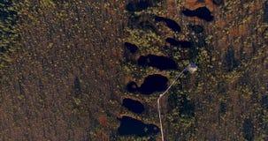 Vue aérienne de ci-dessus sur les marais et les lacs scéniques au coucher du soleil au printemps avec de longues ombres du soleil banque de vidéos