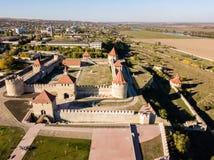 Vue aérienne de cintreuse de Bendery ; Forteresse de Tighina Ottoman, République moldavienne non reconnue le Transnistrie de Prid photographie stock libre de droits