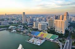 Vue aérienne de compartiment de marina de Singapour photo stock