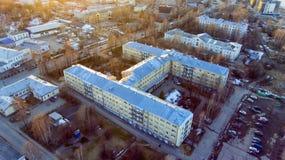 Vue aérienne de complexe médical - hôpital de secours et hôpital infectieux photos libres de droits