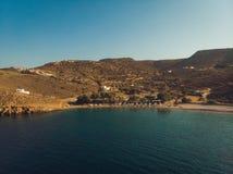Vue aérienne de Constantine Beach Astypalaia Greece du saint images libres de droits