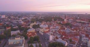 Vue aérienne de coucher du soleil de la tour d'horloge