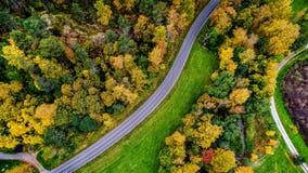 Vue aérienne de couleurs des forêts d'automne image stock