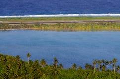 Vue aérienne de cuisinier Islands de lagune d'Aitutaki Image libre de droits