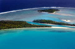 Vue aérienne de cuisinier Islands de lagune d'Aitutaki Images libres de droits