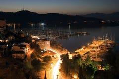 Vue aérienne de Fethiye la nuit Photo stock