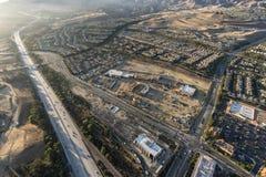 Vue aérienne de fin de l'après-midi de Porter Ranch photos libres de droits