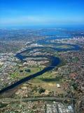 Vue aérienne de fleuve de cygne Photos libres de droits