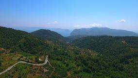 Vue aérienne de forêt de Skopelos d'île de la Grèce banque de vidéos