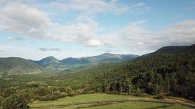 Vue aérienne de forêt et de pré dans la campagne pyrénéenne, France banque de vidéos