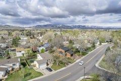 Vue aérienne de Fort Collins, le Colorado photos stock