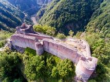 Vue aérienne de forteresse Poenari, Roumanie photo libre de droits