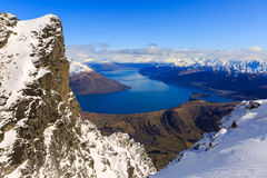 Vue aérienne de Frankton et de lac WakatipuQueenstown, Nouvelle-Zélande photographie stock libre de droits