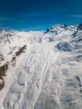 Vue aérienne de glacier Gornergletscher de Gorner et de montagne de Monte Rosa photo libre de droits