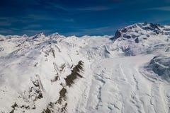 Vue aérienne de glacier Gornergletscher de Gorner et de montagne de Monte Rosa photographie stock libre de droits