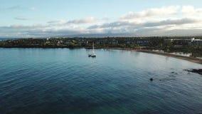 Vue aérienne de grande île de Waikolkoa banque de vidéos