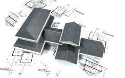 Vue aérienne de grande maison sur le bl Photographie stock libre de droits