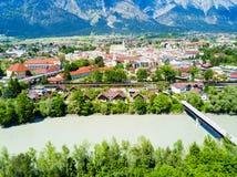 Vue aérienne de Hall Tirol photographie stock