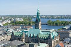 Vue aérienne de Hambourg Image libre de droits