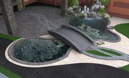 Vue aérienne de jardin de l'eau, rendu 3d Image libre de droits