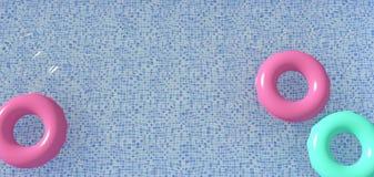 Vue aérienne de jouet gonflable coloré de beignet d'anneau dans l'eau de piscine d'en haut, rendu 3d Images stock