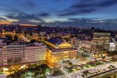 Vue aérienne 9 De Julio Avenue la nuit - Buenos Aires, Argentine Photos libres de droits