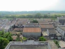 Vue aérienne de Kaiping Diaolou de village de Jinjiangli dans Chikan Photos stock