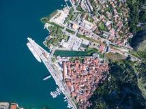 Vue aérienne de Kotor Photos libres de droits
